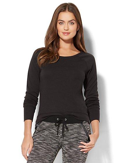 Street Wear - Zip-Accent Hi-Lo Sweatshirt - Black - New York & Company