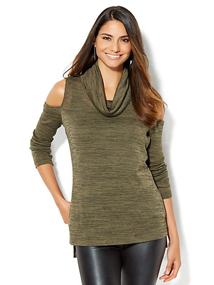 Streetwear - Cold-Shoulder Cowl-Neck Sweater  - New York & Company