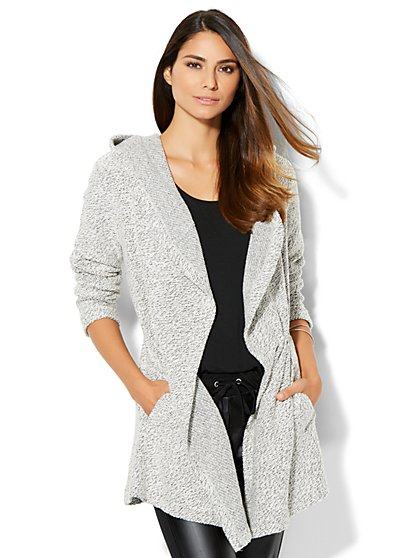 Streetwear - Hooded Open-Front Cardigan Sweater  - New York & Company