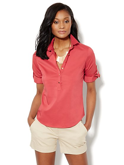 Stretch-Knit Popover Shirt