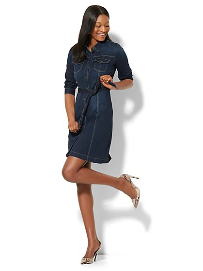 Stretchy Denim Belted Shirtdress - Highland Blue Wash - Petite - New York & Company