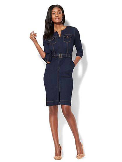 Stretchy Denim Collarless Sheath Dress - Rinse - New York & Company