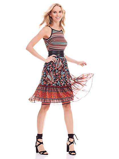 Stripe Crochet & Printed Dress - New York & Company