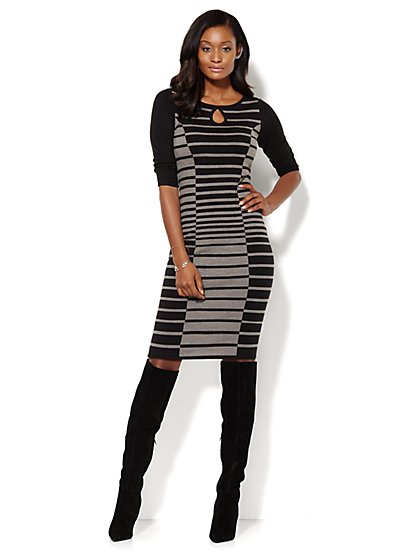 Stripe Keyhole Sweater Dress  - New York & Company