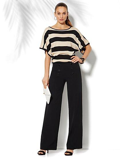 Striped Bateau-Neck Dolman Sweater  - New York & Company