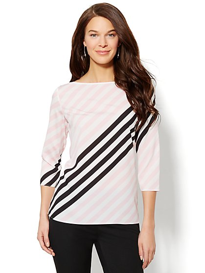 Striped Boat-Neck Blouse