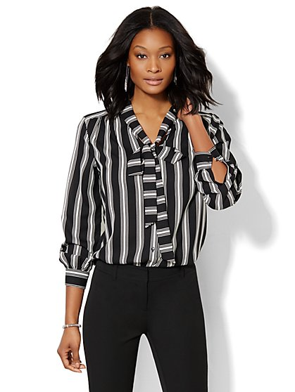 Striped Bow Blouse  - New York & Company