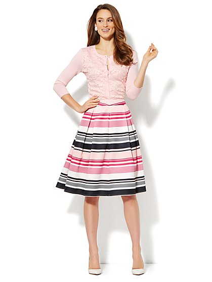 Striped Box Pleat Scuba Skirt - New York & Company