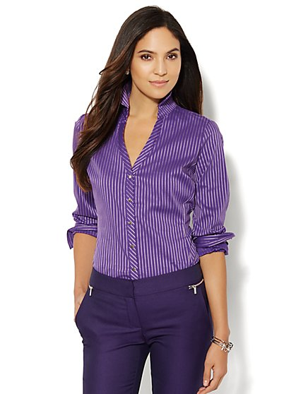Striped Button-Front Shirt  - New York & Company