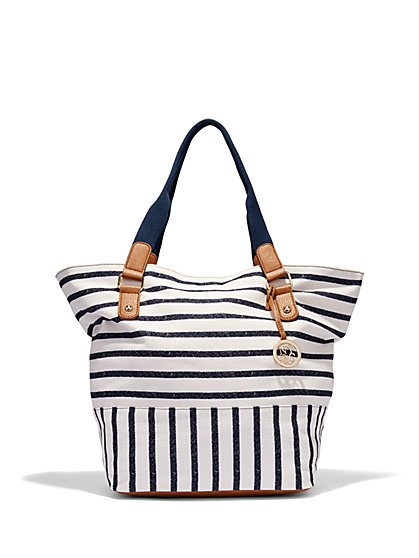 Striped Canvas Tote Bag   - New York & Company