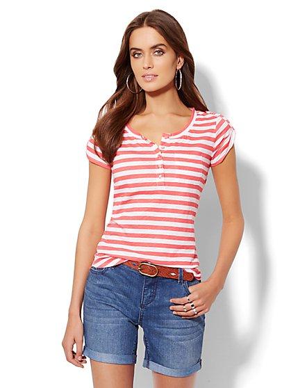 Striped Cap-Sleeve Henley Tee  - New York & Company