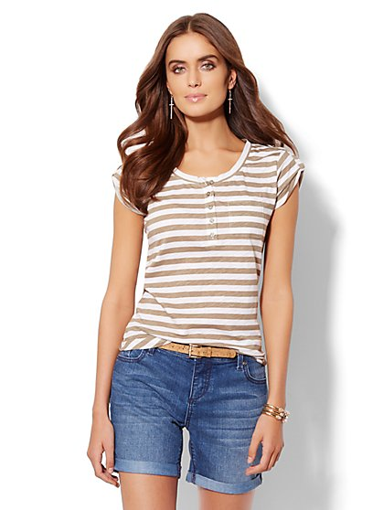 Striped Cap-Sleeve Henley Tee  - New York & Company