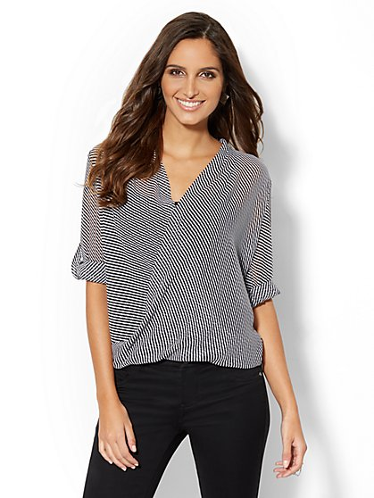Striped Chiffon Faux-Wrap Blouse  - New York & Company