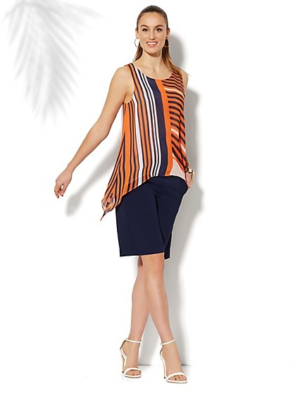 Striped Chiffon Sleeveless Trapeze Top - New York & Company