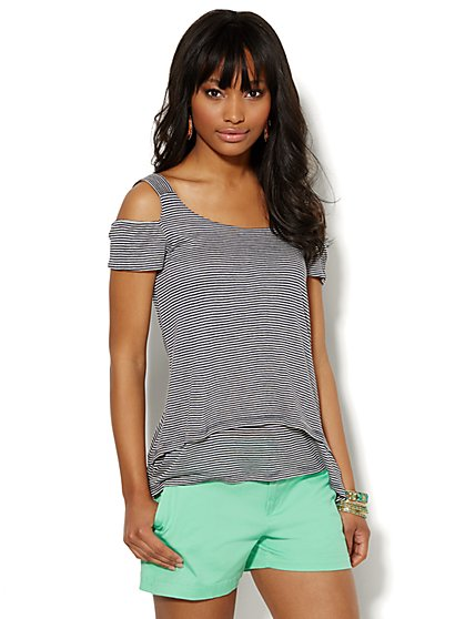 Striped Cold-Shoulder Tiered Tee  - New York & Company