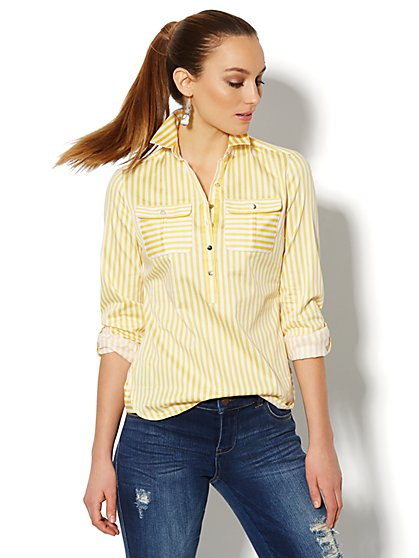 Striped Cotton Popover Stretch Shirt  - New York & Company