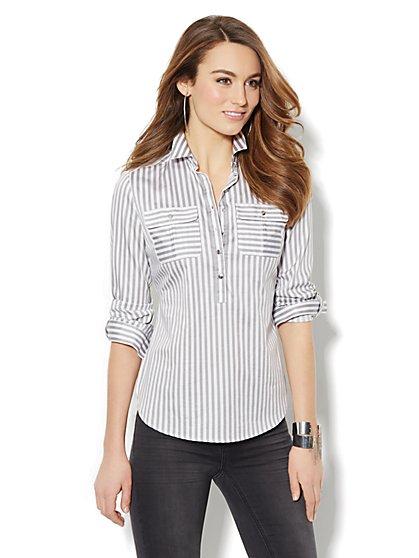 Striped Cotton Popover Stretch Shirt  - New York & Company