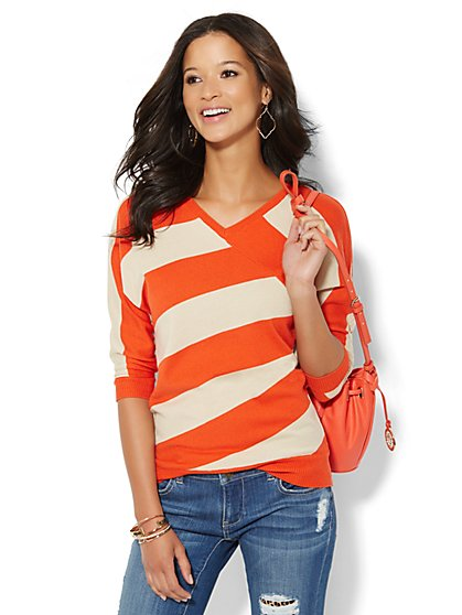 Striped Dolman Sweater  - New York & Company