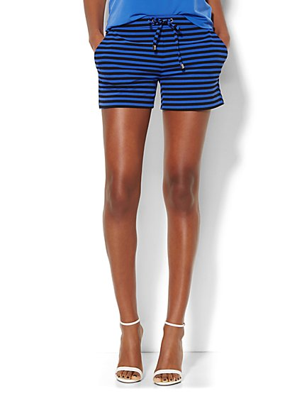 Striped Drawstring Soft Short  - New York & Company