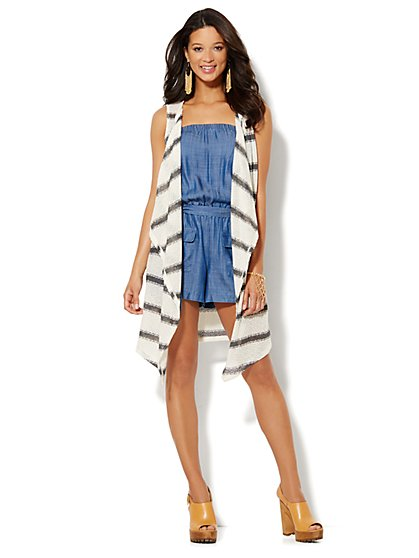 Striped Duster Vest - New York & Company