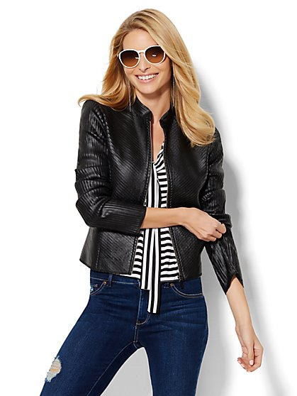 Striped Faux-Leather Jacket  - New York & Company