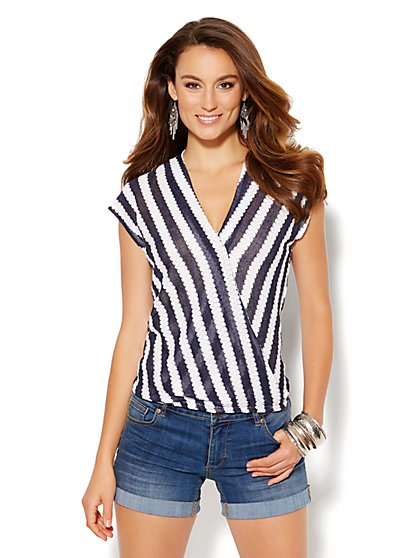 Striped Faux-Wrap Knit Top  - New York & Company