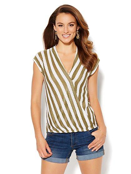Striped Faux-Wrap Knit Top  - New York & Company