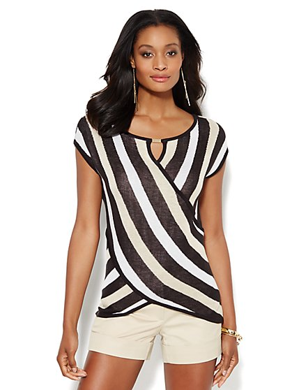 Striped Faux-Wrap Sweater - New York & Company