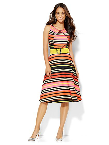 Striped Flare Dress  - New York & Company