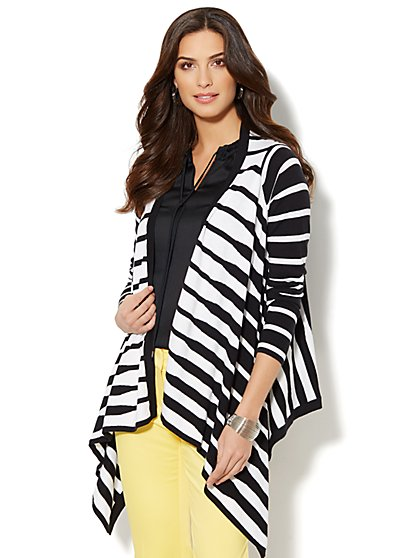 Striped Flyaway Cardigan  - New York & Company