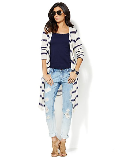 Striped Flyaway Duster Cardigan - New York & Company