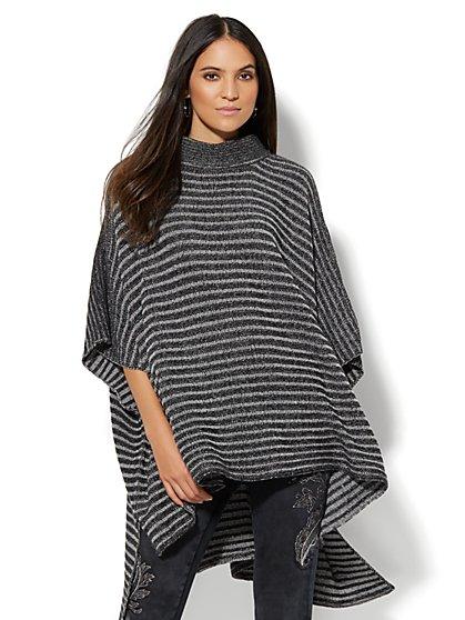Striped Hi-Lo Poncho  - New York & Company