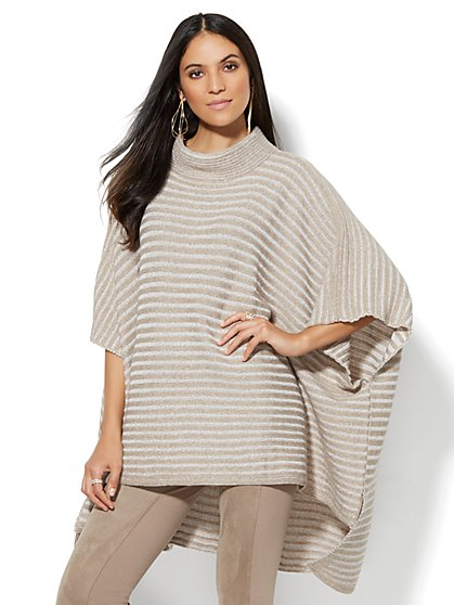 Striped Hi-Lo Poncho  - New York & Company
