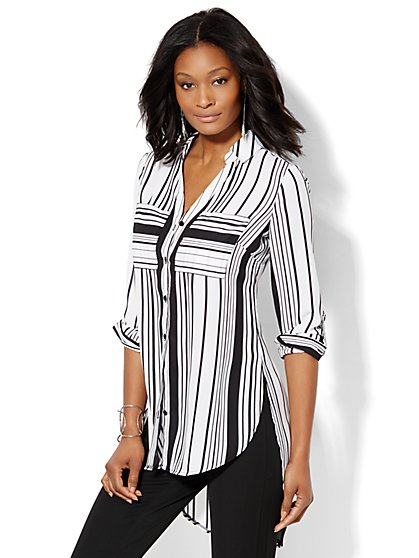 Striped Hi-Lo Tunic - New York & Company