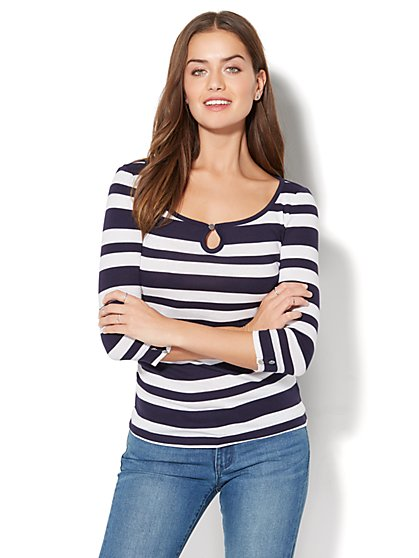 Striped Keyhole T-Shirt - New York & Company