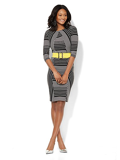 Striped Knit Sheath Dress - Petite  - New York & Company