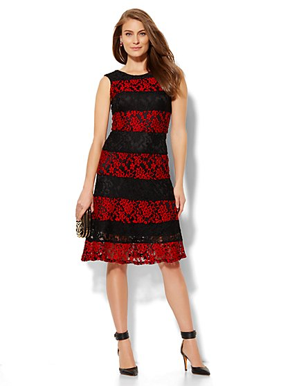 Striped Lace Flare Dress  - New York & Company