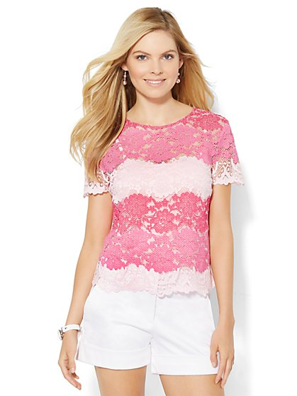 Striped Lace T-Shirt  - New York & Company