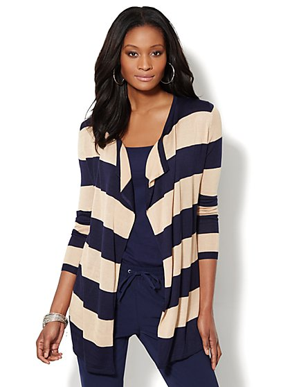 Striped Long Flyaway Cardigan - New York & Company