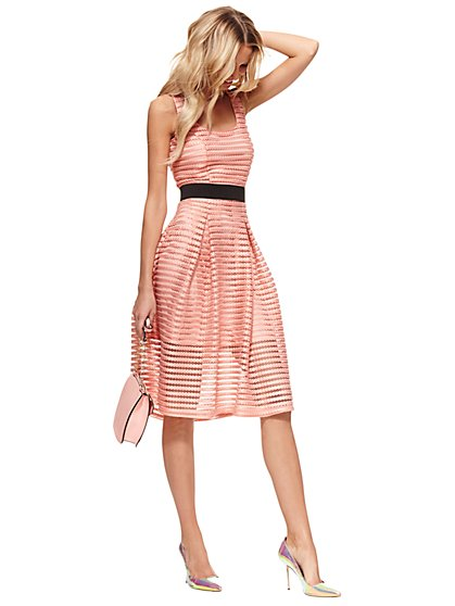 Striped-Mesh Flare Dress - Pink Moments  - New York & Company