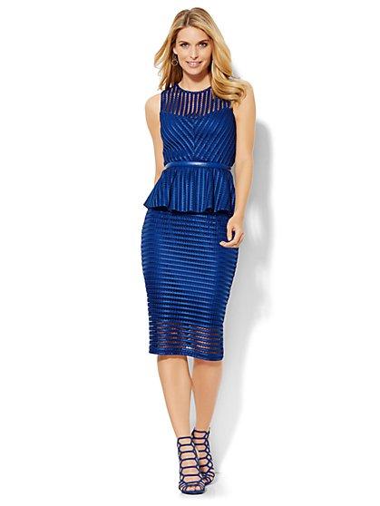 Striped-Mesh Top & Skirt Set  - New York & Company