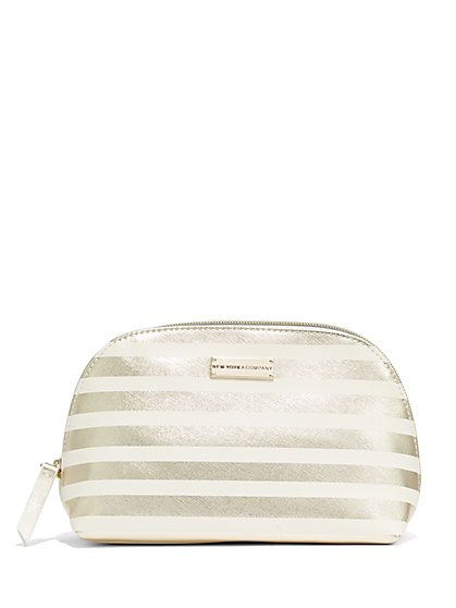 Striped/Metallic Cosmetic Case  - New York & Company