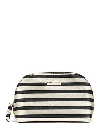 Striped/Metallic Cosmetic Case  - New York & Company