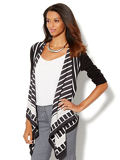 Striped Mix-Knit Flyaway Cardigan