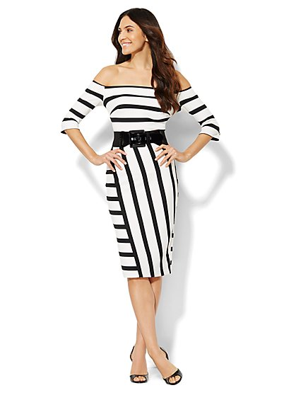 Striped Off-The-Shoulder Midi Dress  - New York & Company