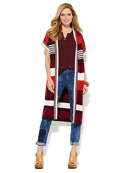 Striped Open-Front Duster  - New York & Company