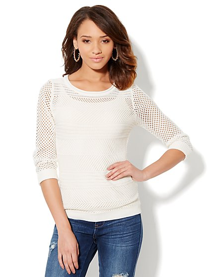 Striped Open-Stitch Sweater - Winter White - New York & Company