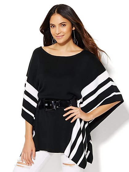 Striped Poncho Sweater - New York & Company