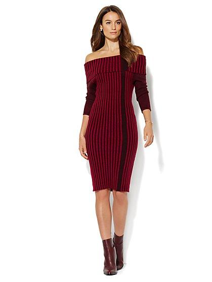 Striped Ribbed Sweater Dress  - New York & Company
