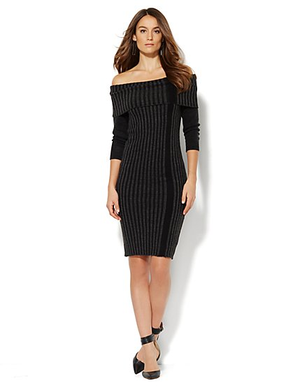 Striped Ribbed Sweater Dress  - New York & Company